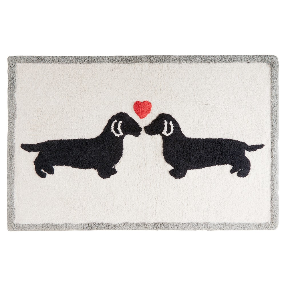 Two Dogs Heart Bath Rug (20x30) Natural
