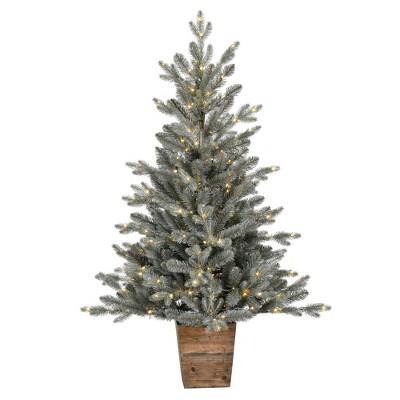 "Vickerman 4' x 33"" Gooding Potted Pine Artificial Tree, Warm White LED Mini Lights"
