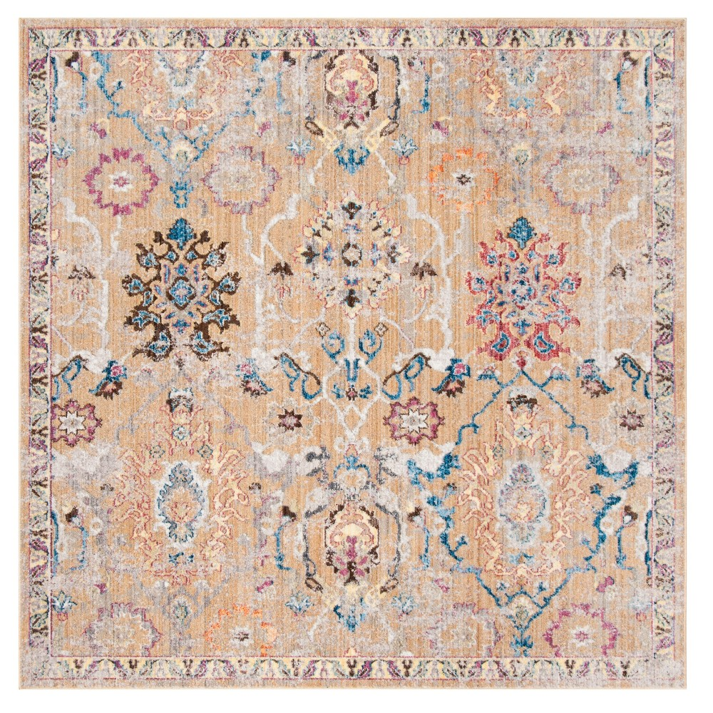 Camelblue Medallion Loomed Square Area Rug 7x7 Safavieh