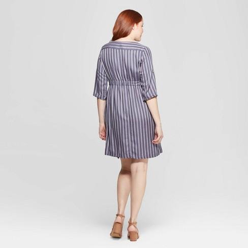 f149946c174 Maternity Striped 3 4 Sleeve V-Neck Tie Waist Shirtdress - Isabel Maternity  By Ingrid   Isabel™ Indigo   Target