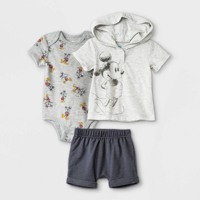 Baby Boys' 3pc Mickey Mouse Short Sleeve Top and Bottom Set