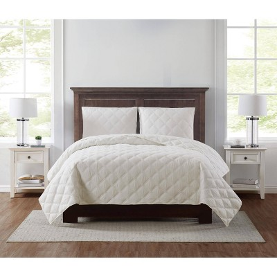 Full/Queen 3pc Everyday 3D Puff Quilt Set Ivory - Truly Soft
