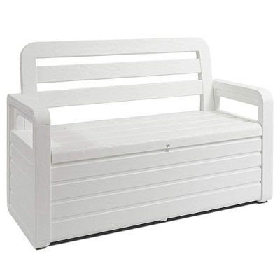 Toomax Z599E108 Foreverspring UV Weather Resistant Lockable Box Chest Bench for Outdoor Pool Patio Furniture and Deck Storage Bin, 70 Gallon (White)