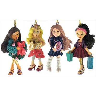 """Kurt S. Adler 4ct Bratz Kloe, Sasha, Yashim and Jade Christmas Ornament Set 3.5"""""""