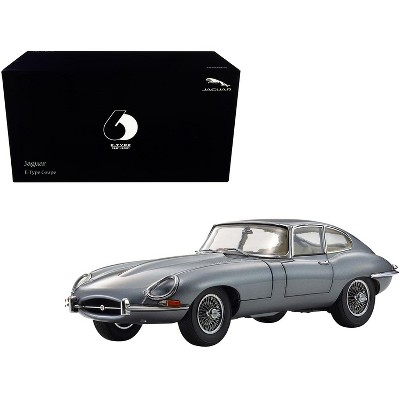 """Jaguar E-Type Coupe RHD (Right Hand Drive) Dark Gray Met. """"E-Type 60th Anniversary"""" (1961-2021) 1/18 Diecast Model Car by Kyosho"""