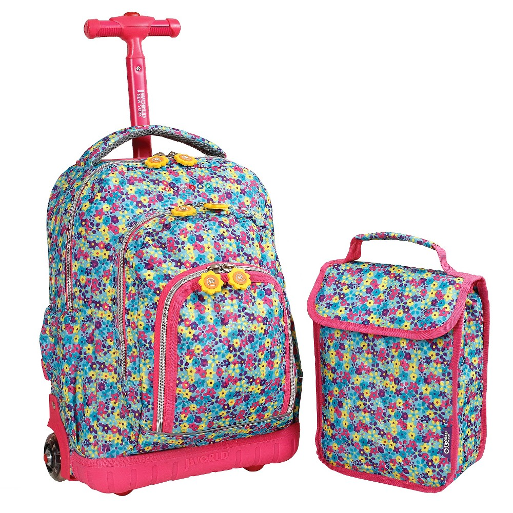 "Image of ""J World 16"""" Lollipop Rolling Backpack with Lunch Kit - Multi-Colored, Kids Unisex, Pink/Blue"""