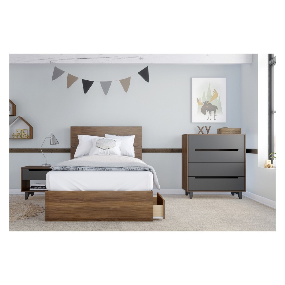 Mystic 4pc Bedroom Set Twin Walnut (Brown) - Nexera