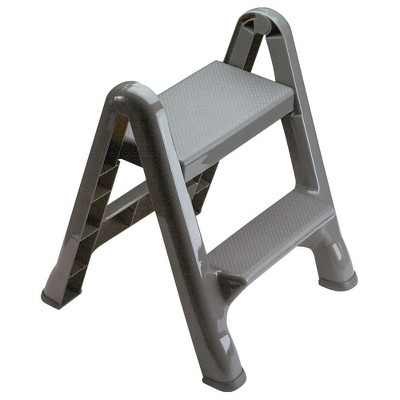 Rubbermaid FG420904CYLND 2 Step Slip Resistant Vertical Folding Plastic Stepstool with Foot Pads, Grey