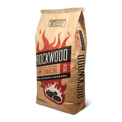 Rockwood All Natural Organic Hardwood Outdoor Barbecue Grill or Smoker Lump Charcoal Missouri Oak, Hickory, Maple, and Pecan Wood Mix, 20 Pound Bag