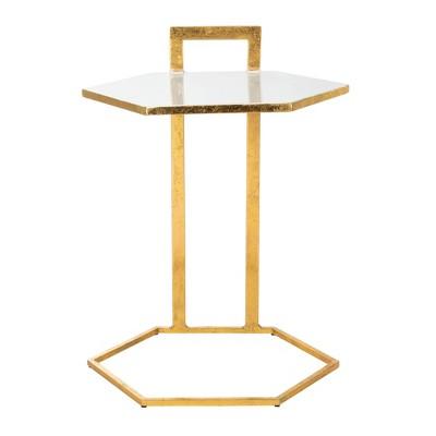 Mirasol Hexagon C Table White/Gold - Safavieh