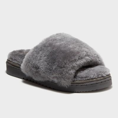 Women's dluxe by dearfoams Sutton Genuine Shearling Slide Slippers