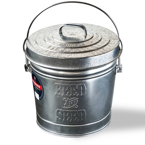 "Behrens 6gal Embossed ""Feed & Seed"" Galvanized Steel Locking Lid Storage Can Silver - image 1 of 4"