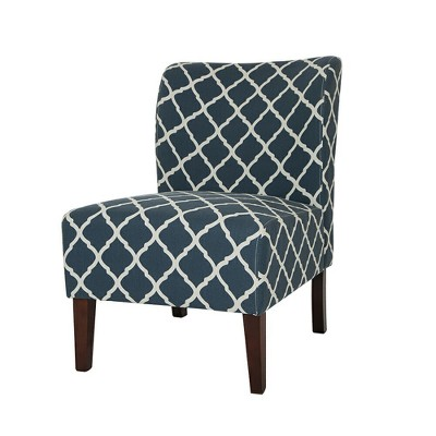 Charmant Set Of 2 Lattice Upholstered Accent Chair   Indigo   Glitzhome