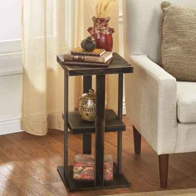 Lakeside Square Side Table with Distressed Farmhouse-Style Finish, 3-Tiered