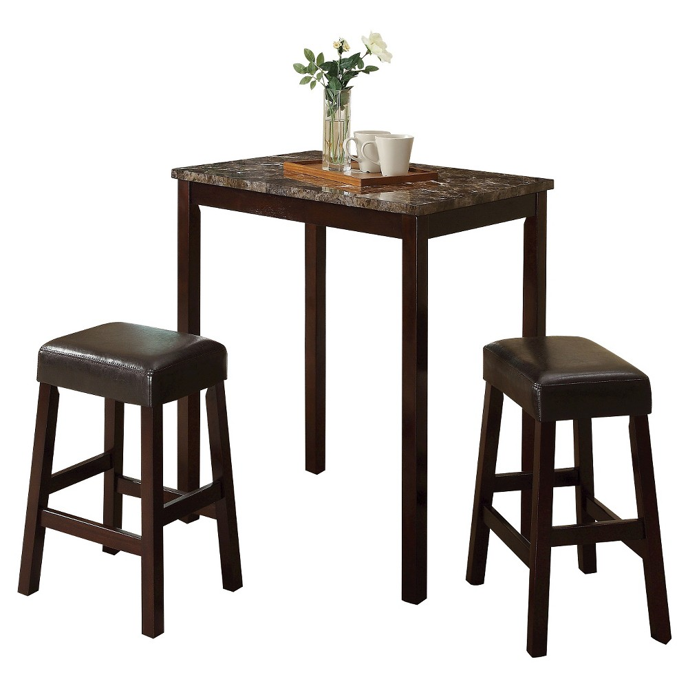 Idris 3 Piece Counter Height Dining Set - Faux Marble and Espresso - Acme, Espresso Brown