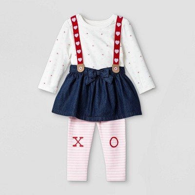 Baby Girls' Skirtall Top & Bottom Set - Cat & Jack™ Cream 0-3M