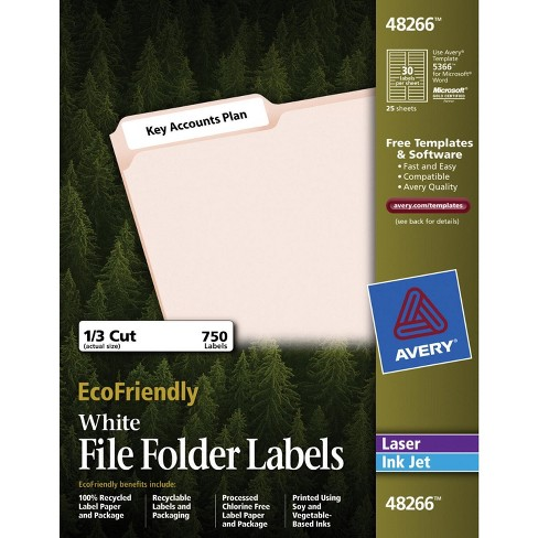 Avery Eco-Friendly File Folder Labels, 2/3 x 3-7/16 Inches, White, pk of 750 Labels - image 1 of 1