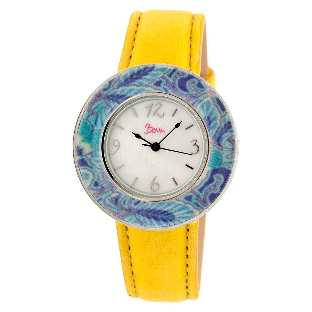Women's Boum Bouquet Watch with Mother-of-Pearl Dial and Unique Patterned Bezel - Yellow