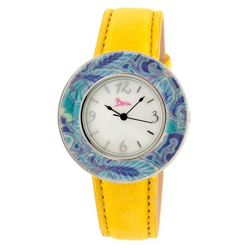 Women's Boum Bouquet Watch with Mother-of-Pearl Dial and Unique Patterned Bezel - Yellow - image 1 of 3
