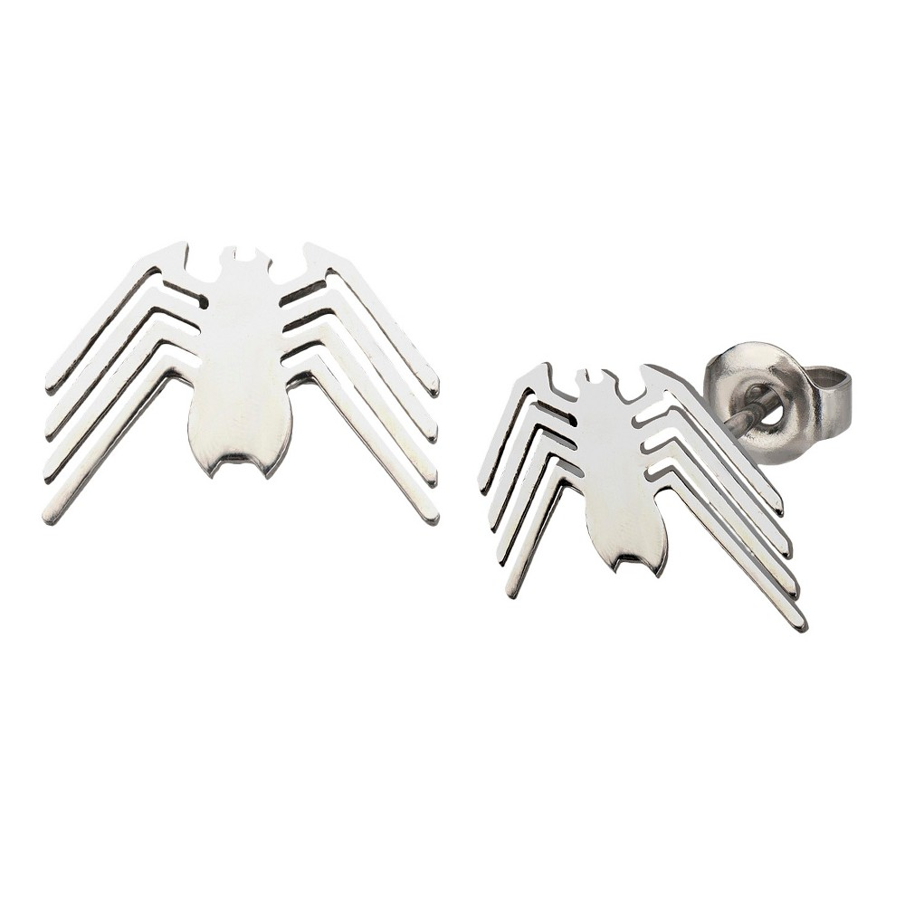 Marvel Spider-Man Logo Cut Out Earring Studs - Silver, Stainless Steel