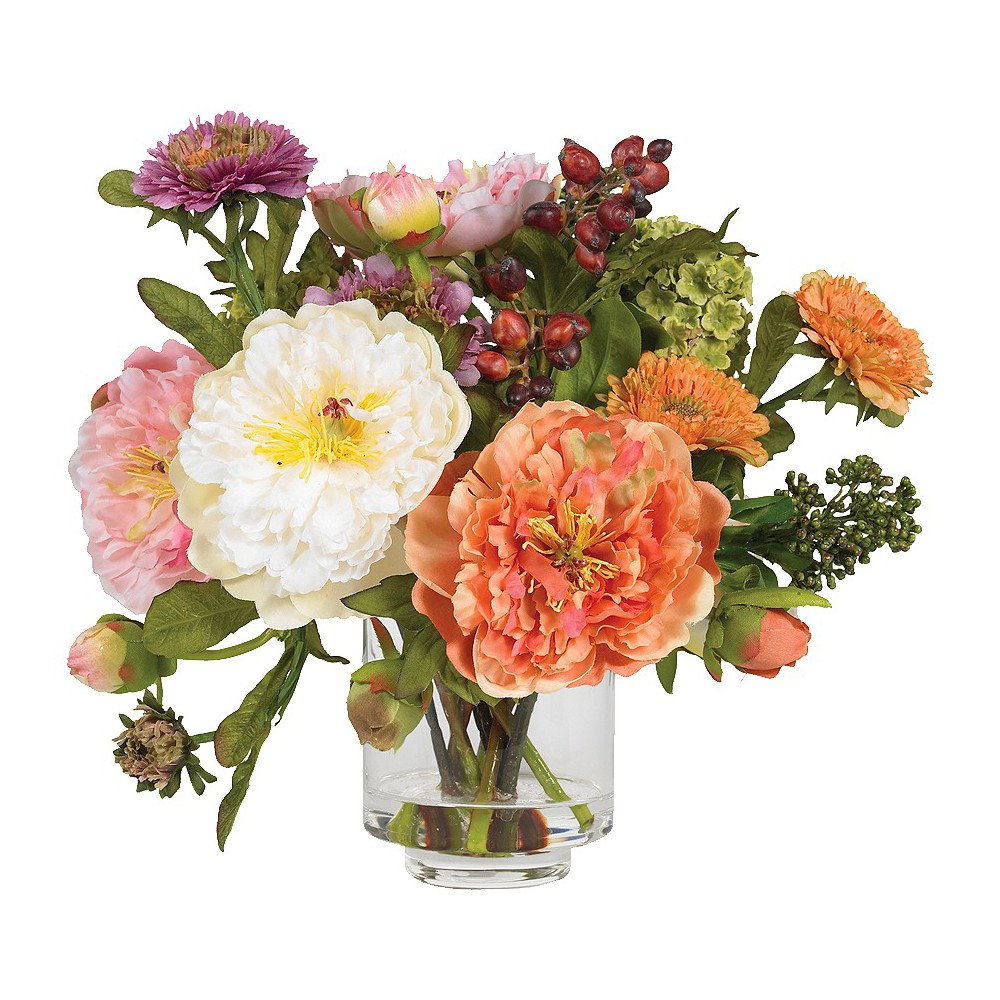 Nearly Natural Peony Silk Arrangement Compare
