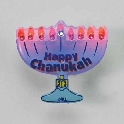 "Rite Lite 1.25"" Flashing LED Menorah Shaped Hanukkah Pin - Blue/Orange"