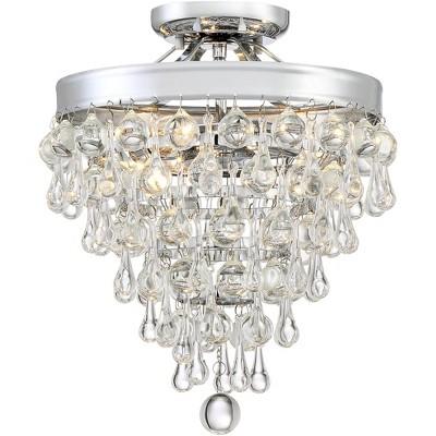 "Vienna Full Spectrum Modern Ceiling Light Semi Flush Mount Fixture Chrome 11"" Wide Clear Crystal Teardrop for Bedroom Living Room"