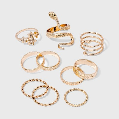 Snake and Star Statement Rings Set 10pc - Wild Fable™ Gold