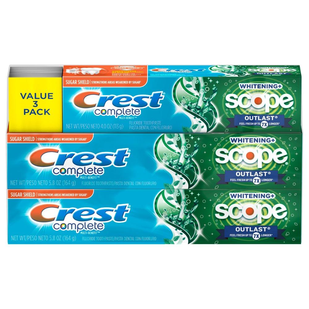 Crest Complete Whitening + Scope - 5.9oz/2pk & 4oz/Single