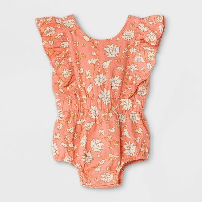 Baby Girls' Floral Woven Cinched Waist Romper - Cat & Jack™ Dark Peach