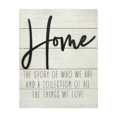 """Home"" Wall Decor White - Stratton Home Decor"