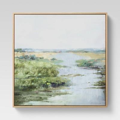 """24"""" x 24"""" Grassy Stream Framed Canvas - Threshold™"""