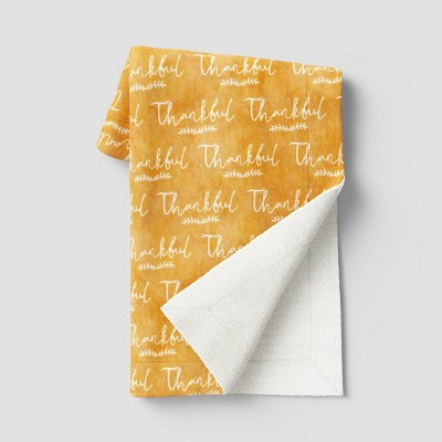 """50""""x60"""" Thankful Plush Throw Blanket with Sherpa Reverse Gold"""