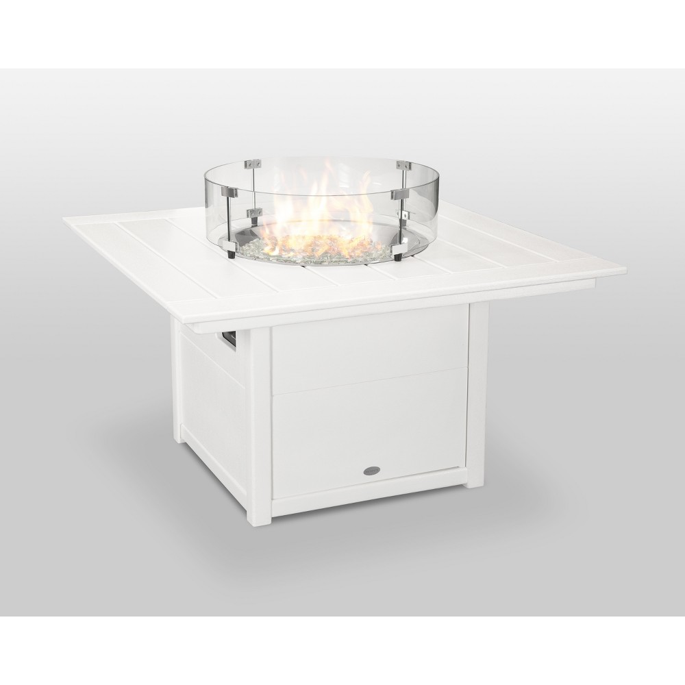 "Image of ""POLYWOOD 42"""" Fire Pit Table - Square - White"""