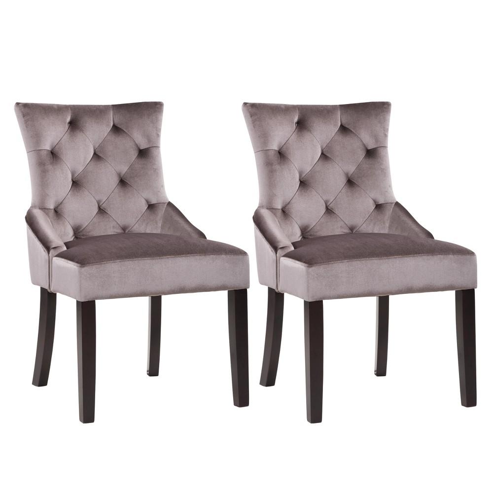 Corliving Antonio Accent Chair In Dark Gray Velvet, Set Of 2, Dark Grey