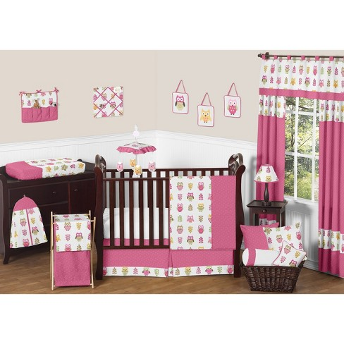Sweet Jojo Designs 11pc Happy Owl Crib Bedding Set Pink Brown Target