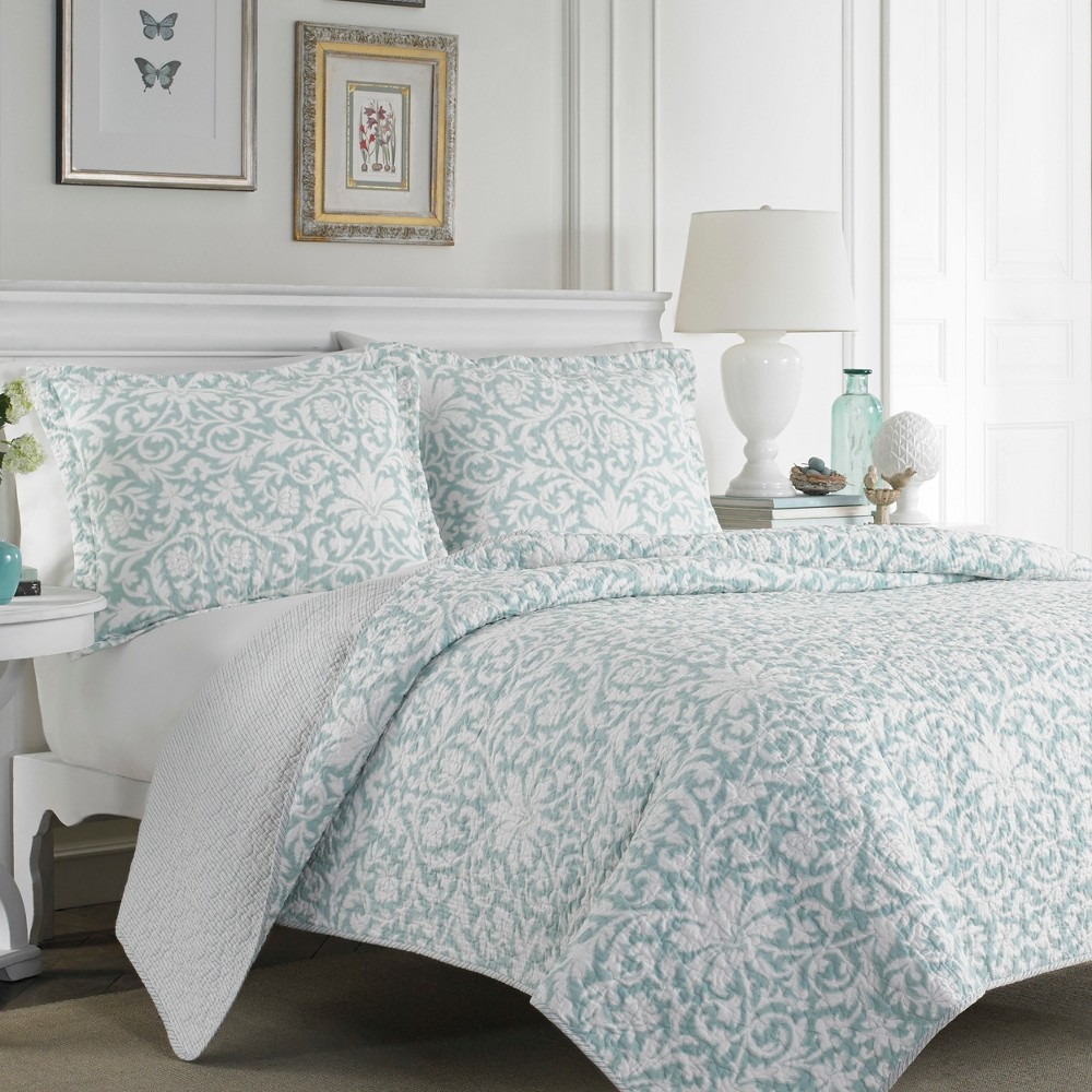 Image of Blue Mia Quilt Set (Full/Queen) - Laura Ashley