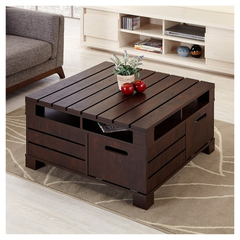 Carin Plank Style Crate Coffee Table Vintage Walnut Homes Inside Out Target