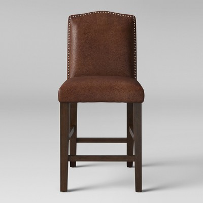 Camelot Nailhead 25  Counter Stool Hardwood Brown Faux Leather - Threshold™