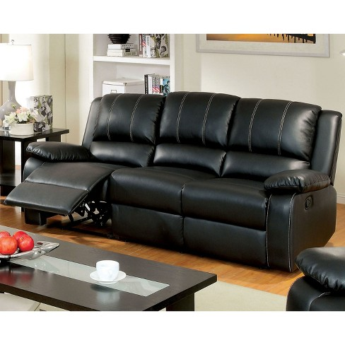 Iohomes Marty Double Stitched Leatherette Reclining Sofa In Black