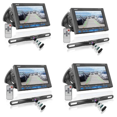 Pyle PLCM7500 7 Inch LCD Display Waterproof Rearview Car Backup Camera and Monitor Parking Reverse Assist System with Night Vision, Black (4 Pack)