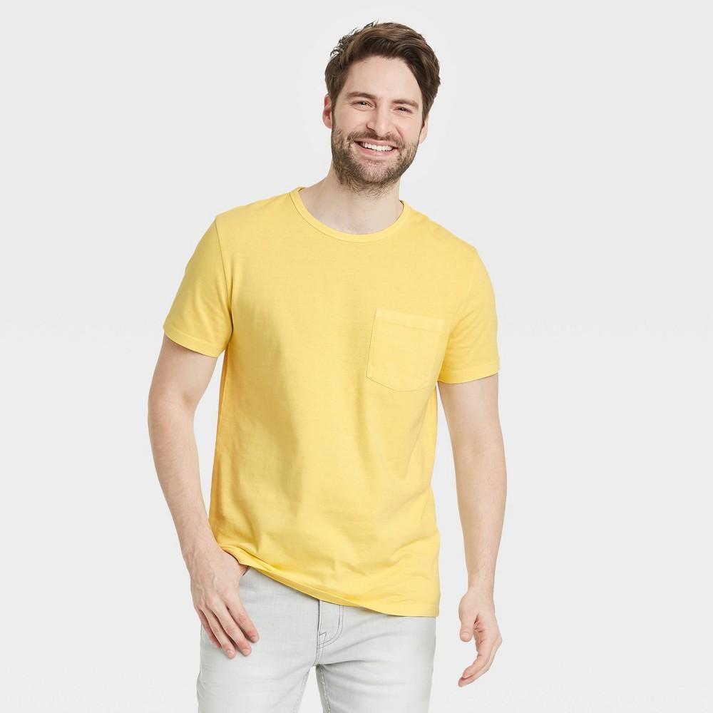 Men 39 S Tall Regular Fit Short Sleeve Crewneck T Shirt Goodfellow 38 Co 8482 Yellow Lt