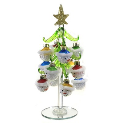 """Christmas 8.0"""" Tree With Snowman Ornaments Gold Star  -  Tree Ornaments"""