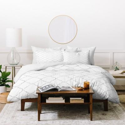 Hadley Hutton Dotty Gray Duvet Cover Set White - Deny Designs