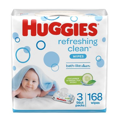 Huggies Refreshing Clean Cucumber/Green Tea Flip-top Packs Baby Wipes - 168ct