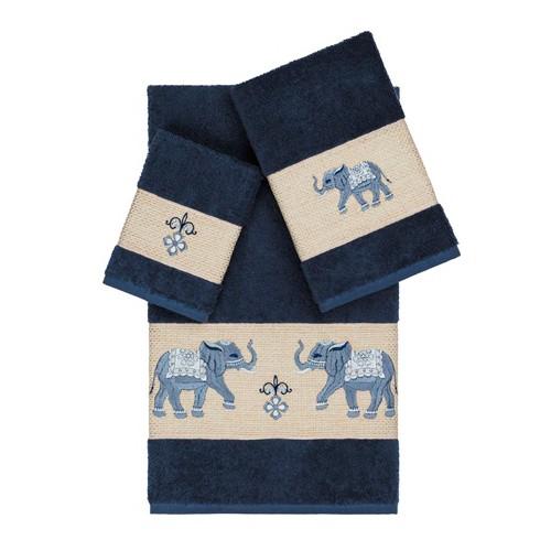 Quinn Embellished Bath Towel Set Midnight Blue - Linum Home Textiles