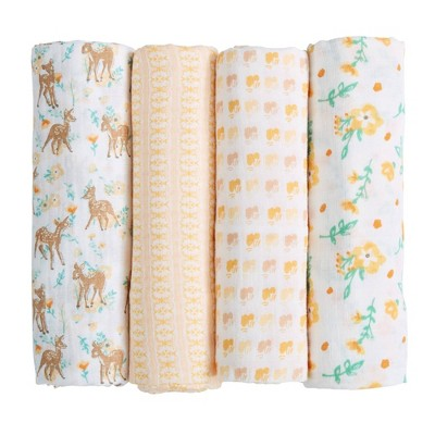 Patina Vie Muslin Swaddle Blanket Set - Fawn 4pc