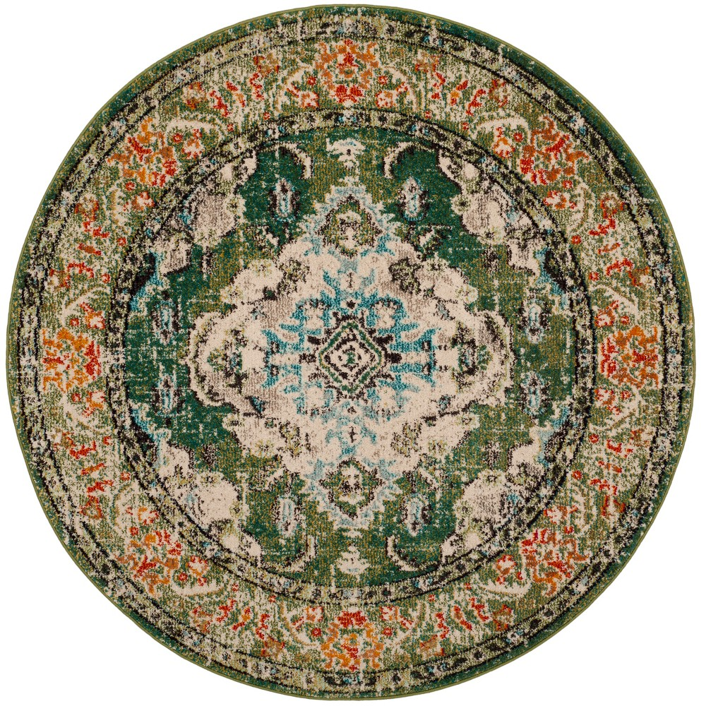3' Medallion Round Accent Rug Forest Green/Light Blue - Safavieh