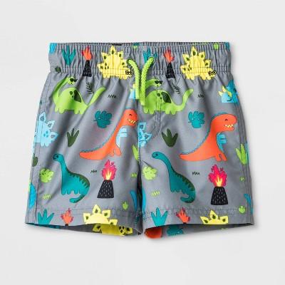Baby Boys' Dino Swim Trunks - Cat & Jack™ Gray 12M