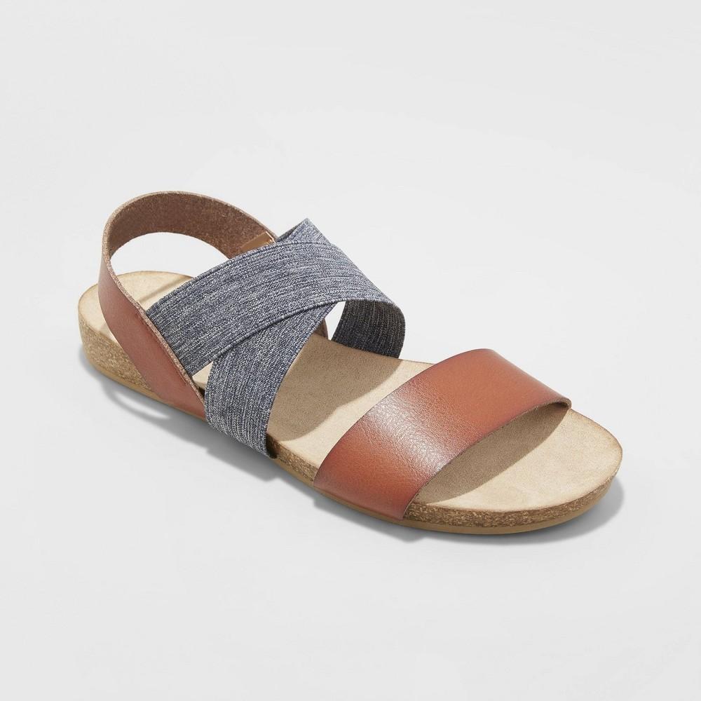 Women's Kerryn Elastic Strap Footbed Slide Sandals - Universal Thread Cognac (Red) 7.5